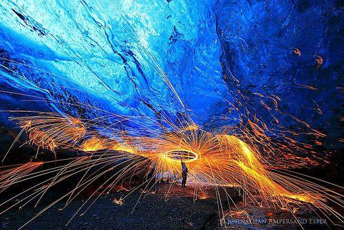 Firespinning in Breidurmerkurjokull ice cave 2014 | Flickr: partage de photos!