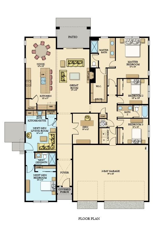 Here Is The Floorplan For The Single Story Camden Perfect For Multi Generational Living This Multigenerational House Plans New House Plans Dream House Plans