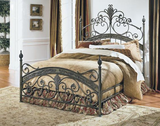 Queen Bed With Forged Metal Headboard And Footboard
