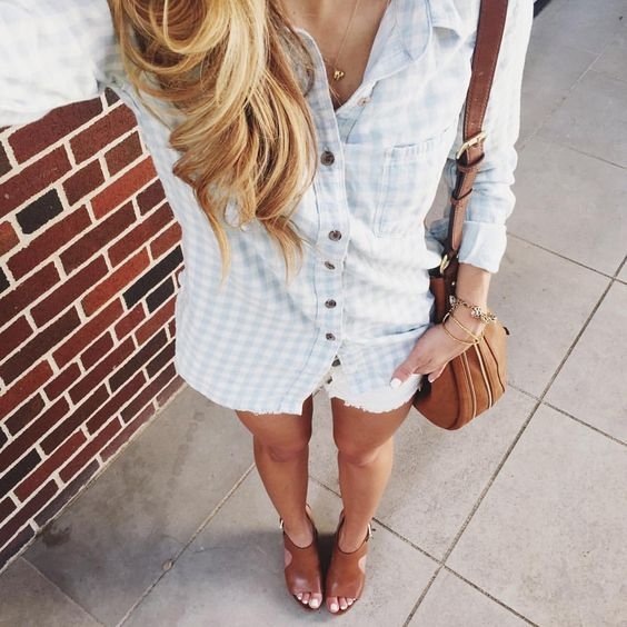 #ootd // gingham and jorts with a side of sweat  Wearing XXS in blouse + shoes on sale // shop everything here: www.liketk.it/1FigP #liketkit