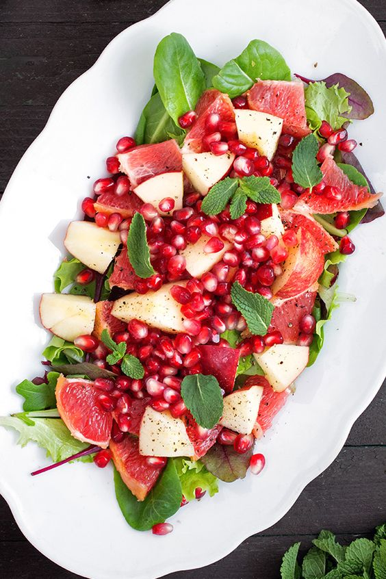 Red and green and oh so good. Intense colors and flavors burst forth with every bite of this gorgeous salad, which features an invigorating dose of chopped fresh mint.