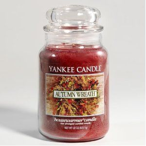 Yankee Candle candle in 'Autumn Wreath'- this is one I have to keep buying over and over! This is my favorite scent from September to February, and currently my all time favorite candle! Blends beautifully with any spice based scents or evergreen scents as well.