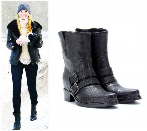 """Miu Miu Textured-Leather Biker Boots as seen on Emma in episode 3x13""""Witch Hunt"""",3x14""""The Tower"""", 3x15""""Quiet Minds"""",3x16""""It's Not Easy Being Green"""",3x17""""The Jolly Roger""""and upcoming episodes($359)"""