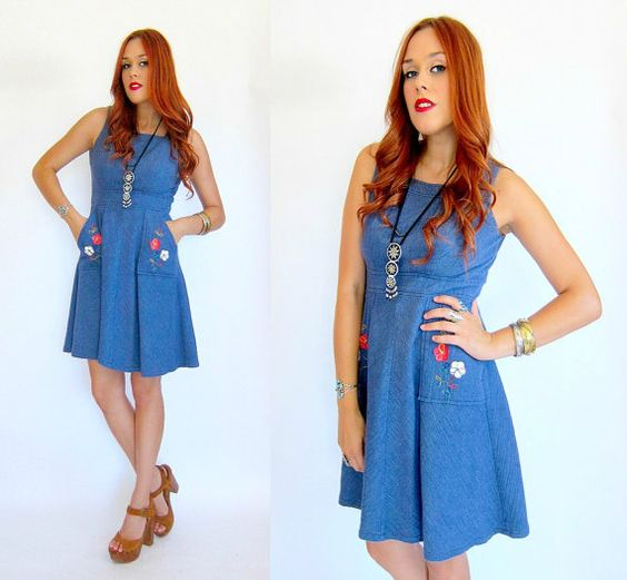 Vintage 70s Blue EMBROIDERED APRON Smock by GypsyStardustDesign, $47.00.