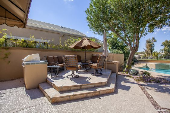 Gainey Ranch home for sale in Scottsdale, Arizona. Elevated BBQ area.