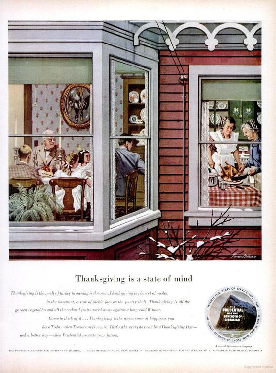 vintage thanksgiving ads | Vintage Thanksgiving Advertisements (Prudential Insurance, 1950):