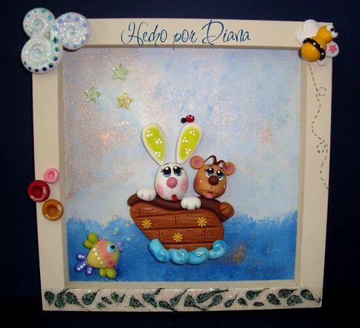 Manualidades Diana: Arca de Noé cuadro 20x20cm $170.00 cada una.
