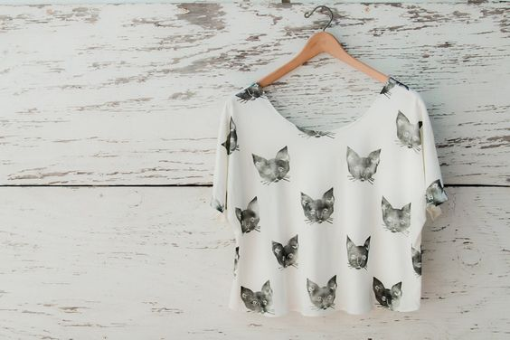 I'm in love! Kitty Cat Tee. by Leah Reena Goren $110.00, via Etsy.