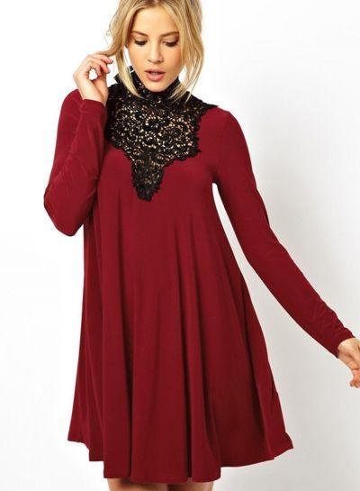 Women's+Lace+Paneled+High+Neck+Keyhole+Back+Dress