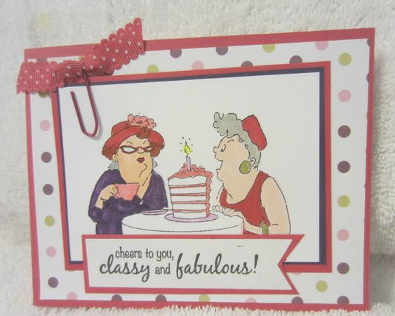 Art Impressions Rubber Stamps: Ai Girlfriends, Out to Lunch set. Handmade card.