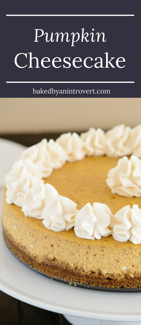 You will love this creamy pumpkin cheesecake! It rests on a thick gingersnap crust and is topped with fluffy swirls of sweetened whipped cream.