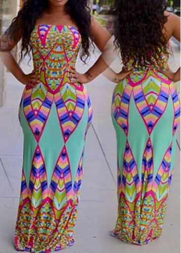 Tribal Print Cyan Maxi Tube Dress on sale only US$21.94 now buy ...