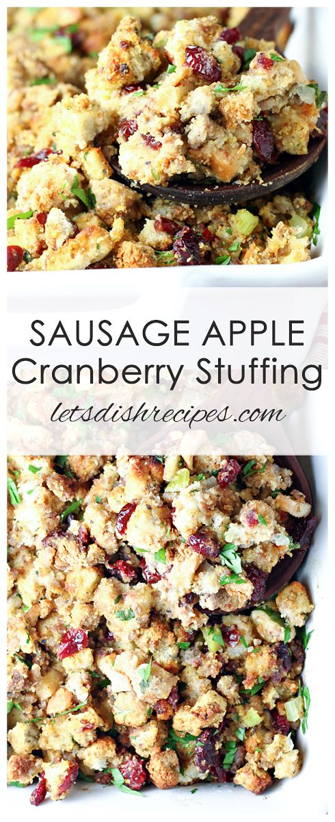 Sausage, Apple, and Cranberry Stuffing Recipe: This festive stuffing recipe is loaded with savory ground sausage, fresh apples and dried cranberries. The perfect side dish whether your serving turkey or ham this holiday season. #stuffing #holiday #thanksgiving #christmas #recipes