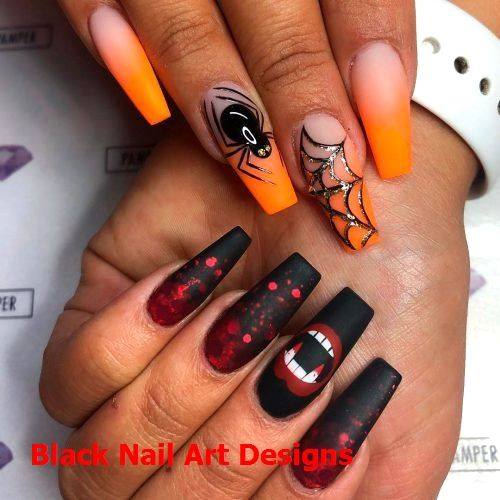 The Best Halloween Nail Designs In 2018 Black Halloween Nails Halloween Acrylic Nails Halloween Nail Designs