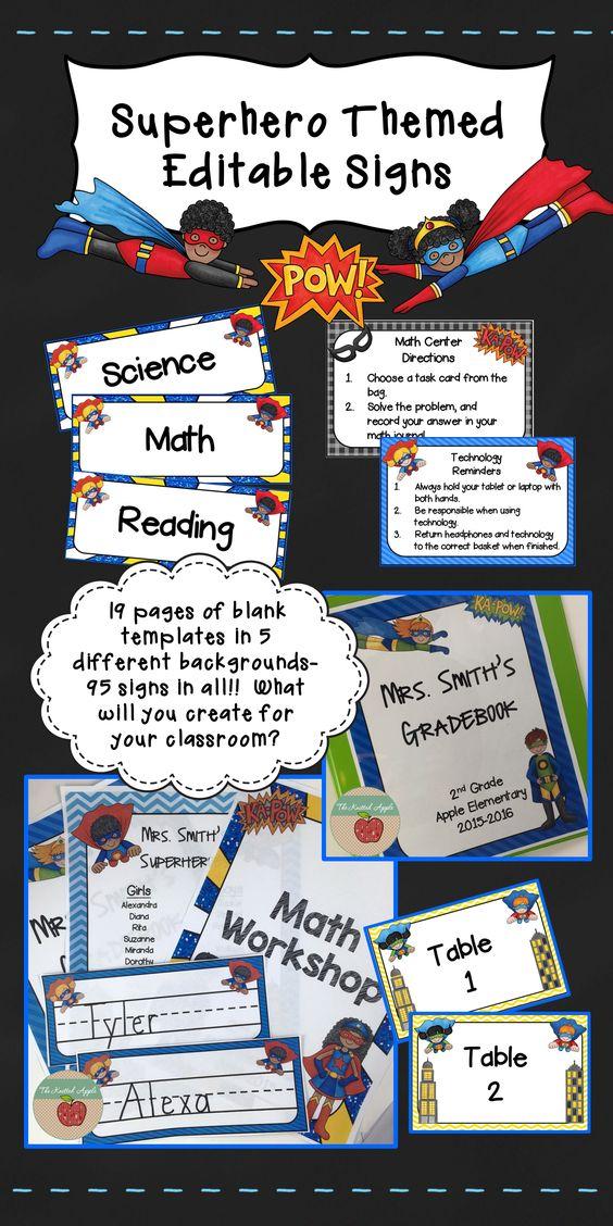 Superhero themed sign templates editable signs desks for Blank task card template