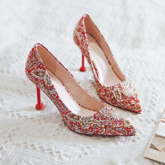 Chinski Styl Fantazyjny Czerwone Buty Slubne 2020 Rhinestone Cekiny 9 Cm Szpilki Szpiczaste Slub Czolenka Red Wedding Shoes Stiletto Heels Unique Wedding Shoes