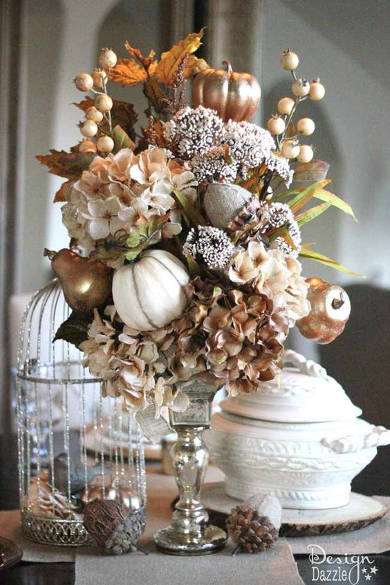 Neutral Fall Tablescape Mercury Glass Autumn