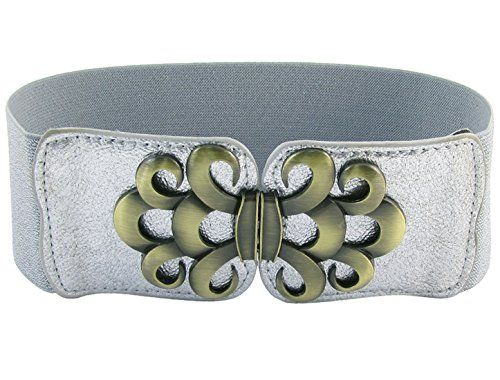 Women Black Faux Leather Western Fashion Hip Belt Bling Bows Silver Buckle S M