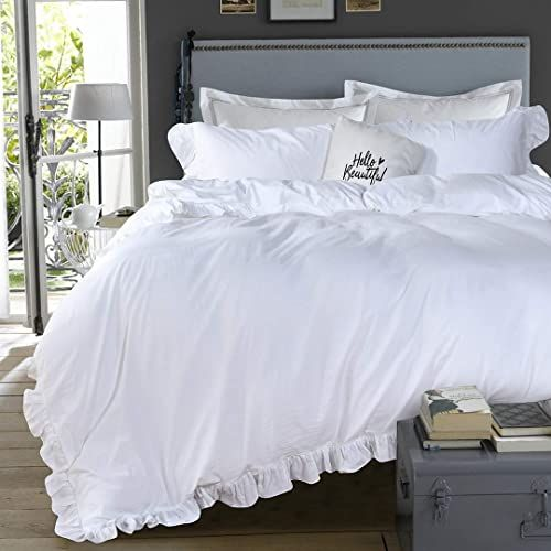 New Queen S House 3 Pieces Duvet Cover Set Washed Cotton White