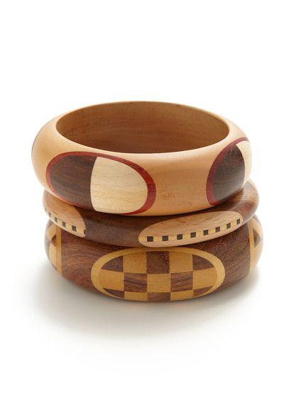Set of 3 Wood Bangle Bracelets by Chamak by Priya Kakkar at Gilt