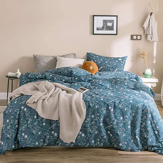 Chic Cotton Duvet Cover King Small, White Bedding With Small Flowers