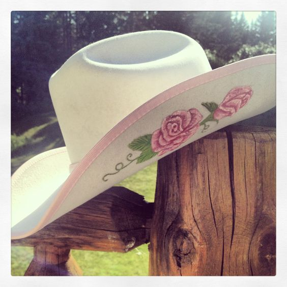 Rose painted cowboy hat   Coppertop Painted Leathers ...