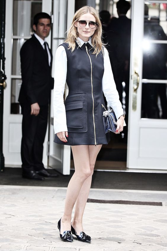 VENZEDITS // OLIVIA PALERMO // BEST DRESSED @PARIS COUTURE FASHION WEEK FW 16 #oliviapalermo #fashion #style #jeweledcollar #blackdress #loafers #mirroredsunglasses #paris #couture