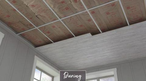 Offer Your Basement Walls A Rustic Look Without Breaking The Bank Or Breaking Into Sweat Utilizing Peel A Dropped Ceiling Armstrong Ceiling Drop Ceiling Tiles