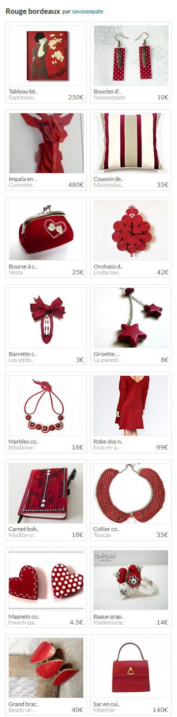 "Collection aLittleMarket ""Rouge bordeaux"" par savousepate : http://www.alittlemarket.com/collection/rouge_bordeaux-291277.html"