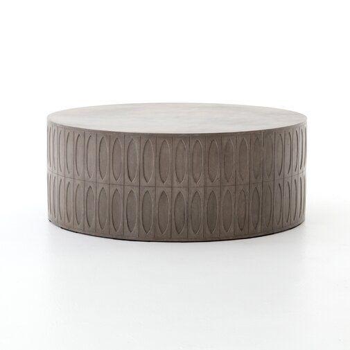 17 Stories Blayze Drum Coffee Table Wayfair Drum Coffee Table Concrete Coffee Table Outdoor Coffee Tables