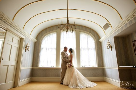 Bride and Groom at the Davenport Hotel. Spokane Weddings. Photo by Britton Photography.