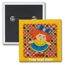 Cute Little Red Haired Girl Yellow and Blue Button. Choose your button shape and size.