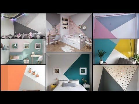 احدث الدهانات للحوائط مودرن2020 تقطيع الوان بدرجات مختلفه واشكال هندسيه دهانات غرف نوم اطفال صالات Youtub In 2021 White Bed Frame Decor Interior Design White Bedding