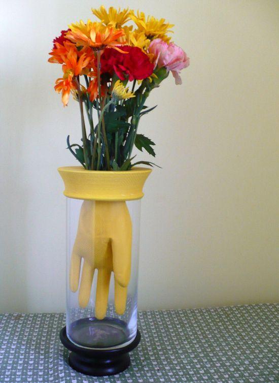 craft tutorial rubber dish glove flower vase - Flower Vase