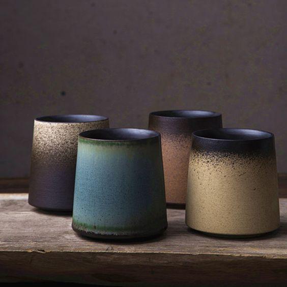 Simple Retro Frosted Straight Side Ceramic Mug