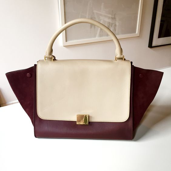 C¨¦line Medium Trapeze in Bicolour Calfskin and Suede - Burgundy ...