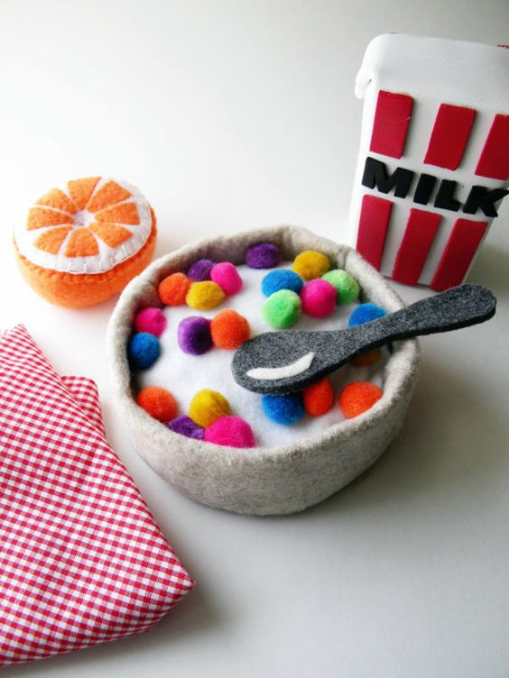 Play Felt Food Tricks Cereal Bowl by thatgirl99 on Etsy, $20.00