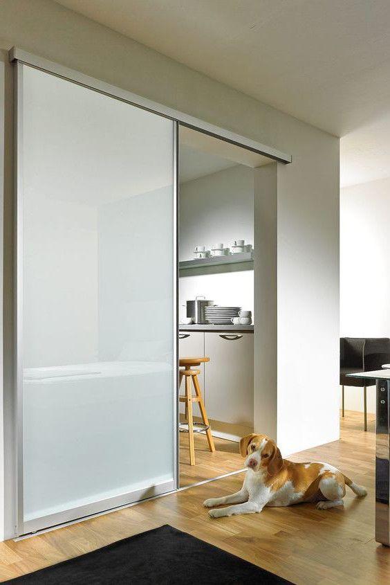 Glasschiebetur Mit Aluminiumrahmen Und Milchglas Schiebetur