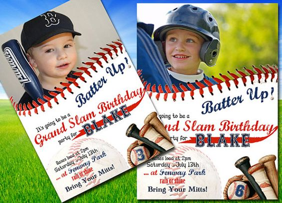 """Baseball Birthday Party - Invitation - """"Batter Up"""" - PERSONALIZED with Age and Photo - ALL STAR on Etsy, $15.00"""