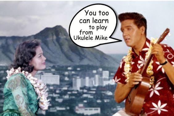Elvis plays along with Ukulele Mike Lynch at www.ukulelemikelynch.com and www.allthingsukulele.com