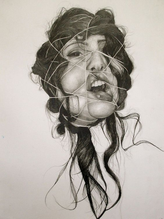 non-traditional portrait, distortion with string
