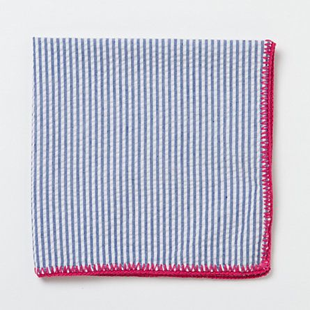 Terrain Whipstitch Seersucker Napkin : I love seersucker, but hadn't thought of a project for it... but I hadn't thought of home goods.  Hmmmmmm.