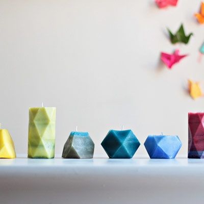 Whether you're a geometry fan or just in love with the faceted trend, make some Archimedean solid candles to add a splash of shape and color to your everyday life. Download the free templates to make your own geometric molds. | Difficulty: Beginner; Length: Short; Tags: Candles, Decorations, Homewares