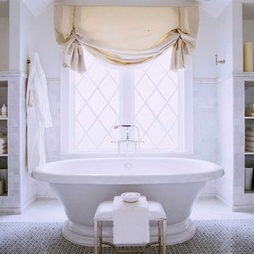 Bathroom window treatment ideas balloon shades window for Jewelry by design rockville md