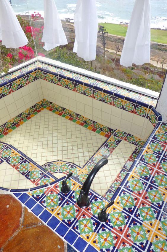 Mexican tile sunken tub and shower by kristi black designs pinterest - Bathroom tiles talavera ...