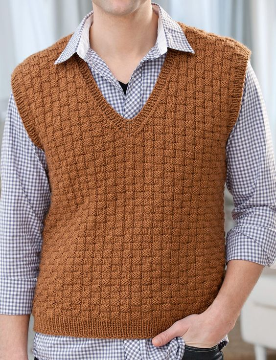 Free Knitting Pattern for Men's Basketweave Vest - Textured vest in S, M, L, XL, XXL. Designed by Jodi Lewanda.