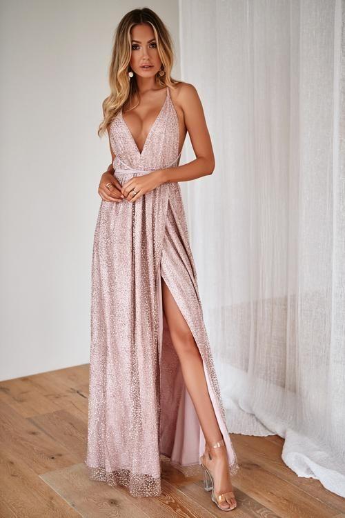 Lumiere Glitter Maxi Dress Rose Gold Pink Formal Dresses Prom Dresses Long Pink Prom Dresses