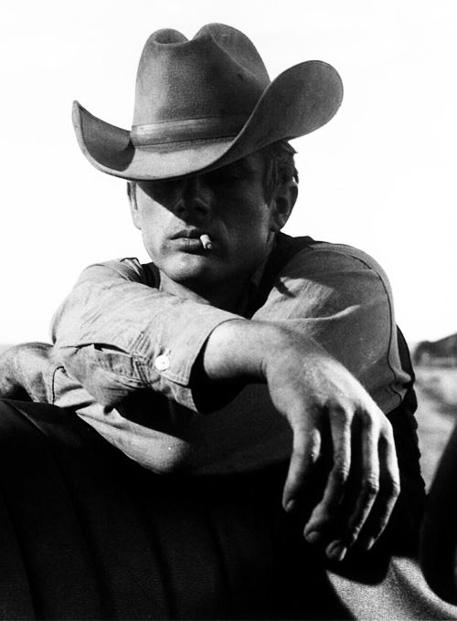 James Dean on the set of 'Giant' photographed by Frank Worth, 1955.  HE HAD COWBOY DOWN PAT