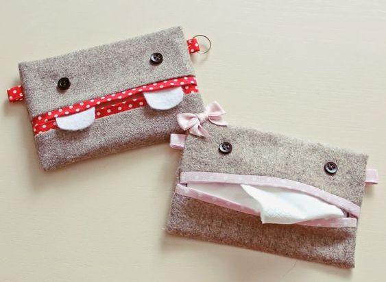 Lindos e divertidos, este porta-lenço ainda é super fácil de fazer