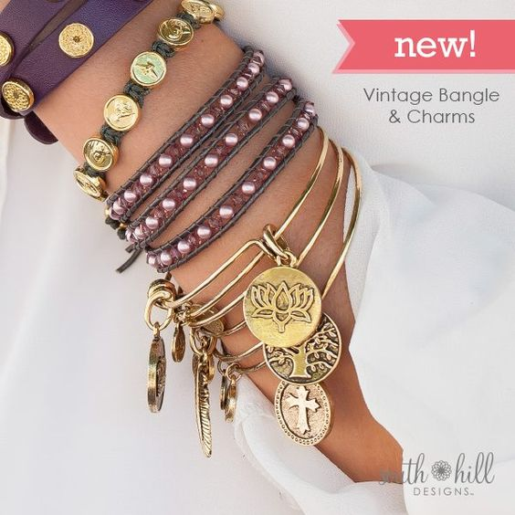 from top to bottom Our Eggplant Leather Wrap, Our gold Trinity Bracelet, our Amethyst Pearl Wrap Bracelet, and our Vintage Bangle with charms....to order visit www.southhilldesigns.com/holdthevision I am looking for entrepreneurial type women to join my team. If you are looking for part time or full time work please let me know Deborah 250-918-9098 dkruks@hotmail.com
